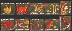 Suriname. 1963. vignettes. Fauna. MLH.