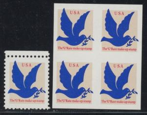 US 2877a normal stamp & imperf block of 4 - mnh USA G Rate make-up stamp EFO