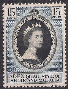Aden state Shihr & Mukalla 1953 QE2 15ct Coronation MM SG 28 ( L259 )