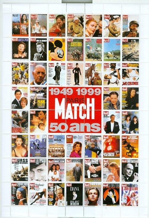 PARIS MATCH LABELS ...FULL SHEET...1999 50th ANNIVERSARY