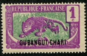 Ubangi-Shari SC# 23 Tiger and Tusks, 1c,  Mint hinged