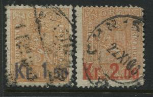 Norway 1905 1.50 and 2 kroner overprinted on 2 skilling oranges