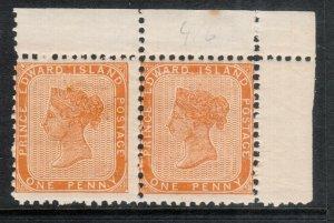 Prince Edward Island #4 Mint Fine Never Hinged Margin Pair