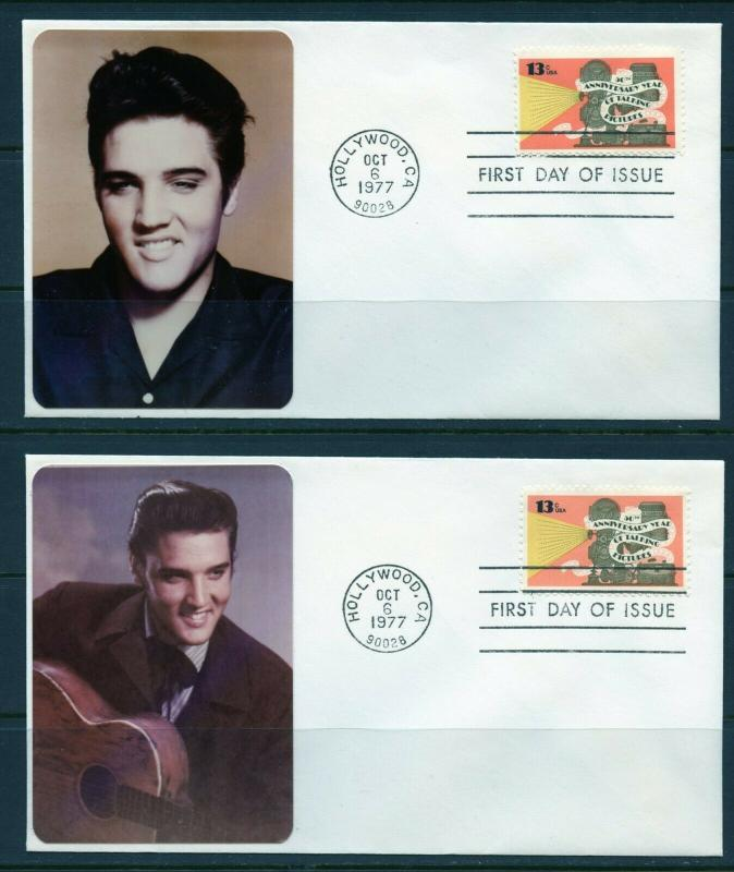 UNITED STATES 1977 ELVIS PRESLEY CACHETD  SET OF 4  DIFFERENT  TALKING FILM FDCS