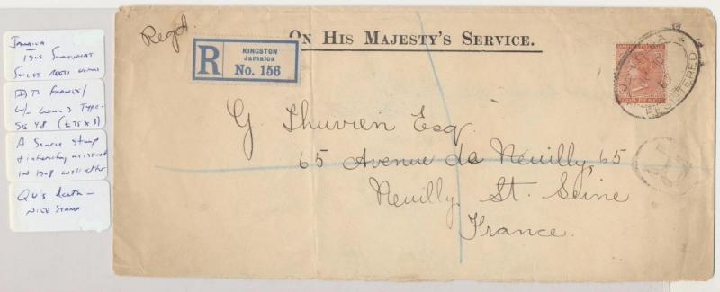 JAMAICA TO FRANCE 1909,REG OHMS COVER TO USA, QV 4d RATE (SG#48)RARE (SEE BELOW