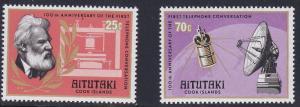 Aitutaki # 143-144, 1st Telephone Anniversary, NH Half Cat