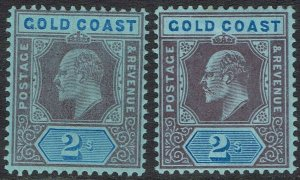 GOLD COAST 1907 KEVII 2/- BOTH SHADES */**