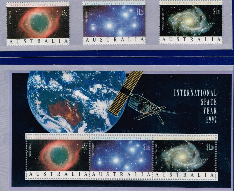 AUSTRALIA Stamp 1992 INTERNATIONAL SPACE YEAR S/S + SINGLE STAMPS MMNH