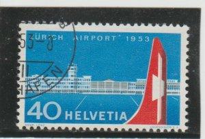 Switzerland  Scott#  344  Used  (1953 Zurich Airport)