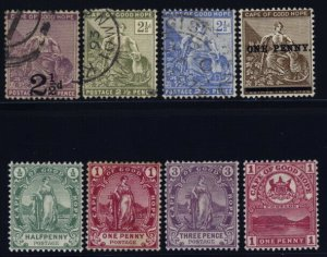 Cape of Good Hope 55-57 used, 58 mh, 59 to 61 mint set,62 mint, large anchor wm