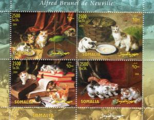 Somalia 2004 ALFRED BRUNEL de NEUVILLE Paintings with CATS Sheetlet (4) Perf.MNH