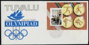 Tuvalu 616 on FDC - Summer Olympics, Stadium