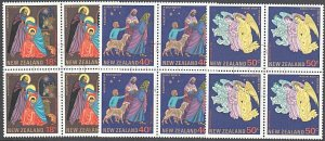 NEW ZEALAND 1985 Christmas set fine used blocks of 4........................E874