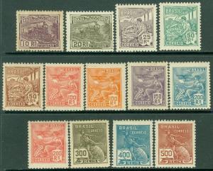 EDW1949SELL : BRAZIL 1920-22 Scott #218-30 Complete set. VF, Mint OG. Cat $109.
