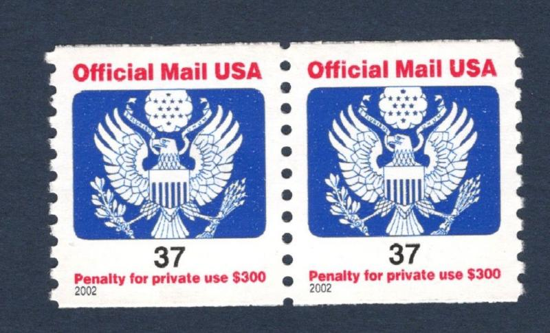 O159 Official Mail 37cent US Pair Mint/nh (Free shipping)
