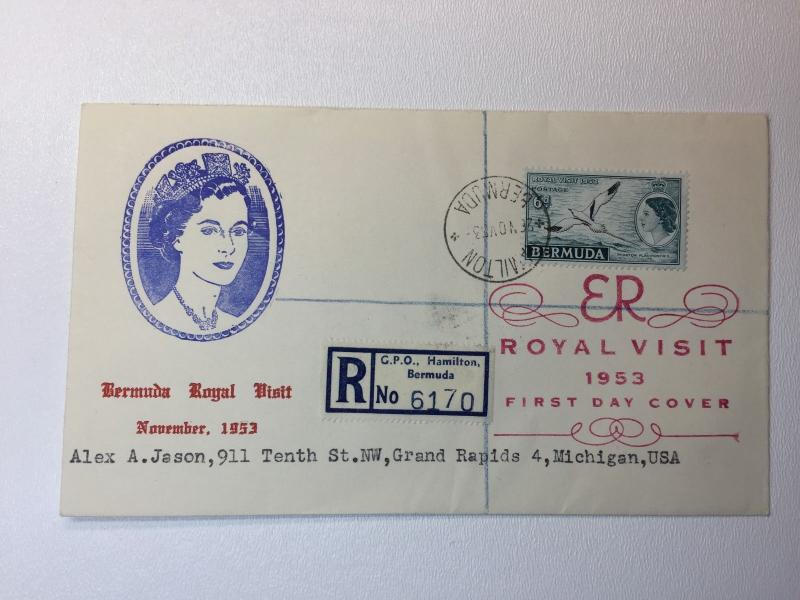 Bermuda Royal Visit 1953 FDC cover sc#163 Registered cover to US QEll Hamilton