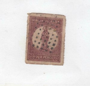 VIRGIN ISLANDS  # 5  VF-USED  4d  1867-70  ST. URSULA / LAKE,BUFF CAT VALUE $65