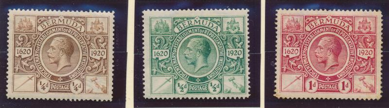 Bermuda Stamp Set Scott #71-3, Mint Hinged