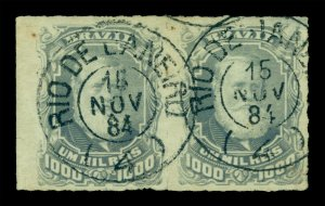 BRAZIL 1878  D.Pedro  1000r gray lilac   Scott # 76 used PAIR