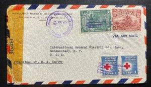 1943 Tegucigalpa Honduras Censored Airmail Cover To Schenectady NY USA