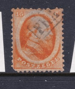 Netherlands a perf 15c from 1864 used