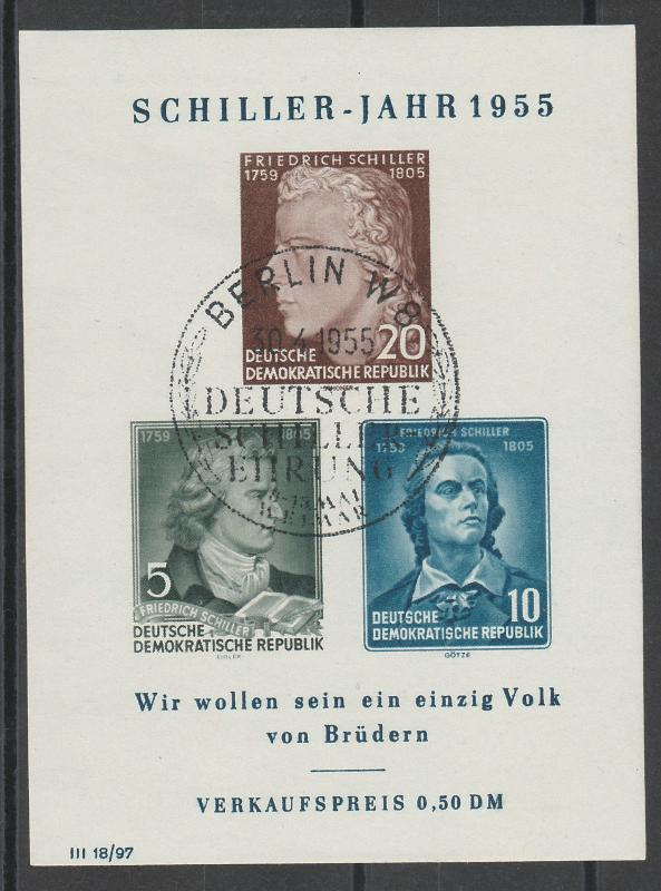 EAST GERMANY 1955 SCHILLER MINIATURE SHEET FIRST DAY CANCEL
