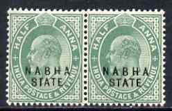 Indian States - Nabha 1903-09 KE7 1/2a green horiz pair, ...