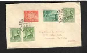 1958 Aden GPO cover Vancouver BC SC#48 x 2 #48a #49-50 F-VF unusual routing