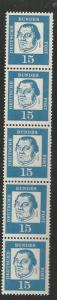 GERMANY 828 MNH, STRIP OF 5, COIL, MARTIN LUTHER