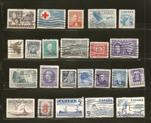 Canada Collection of 23 Different 1950's Stamps Used