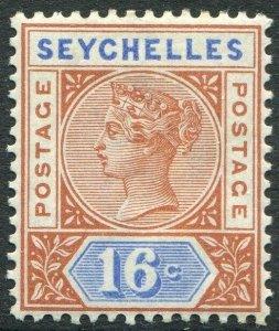 SEYCHELLES-1892 16c Chestnut & Ultramarine Die II Sg 14 MOUNTED MINT V48927