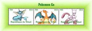 Chad 2016 Pokemon Go Cartoon Characters 3v Mint Souvenir Sheet S/S. (#82)