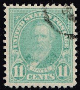 US STAMP #692 – 1931 11c Hayes, light blue USED XFS SUPERB