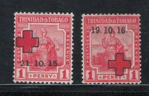 Trinidad and Tobago 1915 - 16 Semi-Postal Scott # B2 - B3 MH