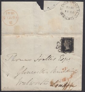 Great Britain, 1p Black 1841 WOTTON-UNDER-EDGE distinctive Maltese on cover, RPS