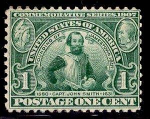 US Stamp #328 1c Green John Smith MINT NH SCV $70