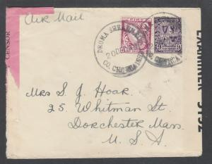 Ireland Sc 73, 74 on 1930 CENSORED Air Mail cover, Dromahane Pink Censor's Tape
