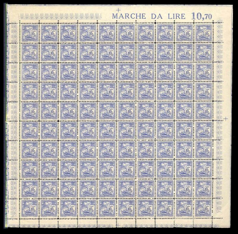Italy 1941 10.70 L Fascist Social Security Stamp Mint Sheet #142A