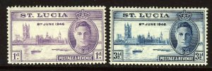 ST LUCIA King George VI 1946 The Victory Set SG 142 & SG 143 MINT