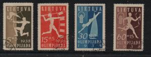 Lithuania Sc B43-46 1938 National Olympiad stamp set used