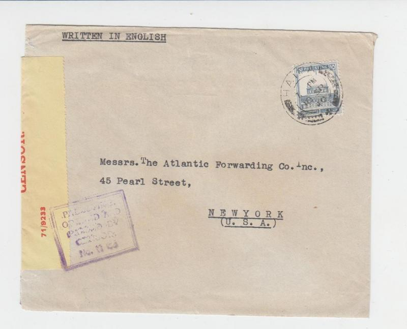 PALESTINE -US 1940 CENSOR COVER, TAPE 6B1, 15m RATE (SEE BELOW)