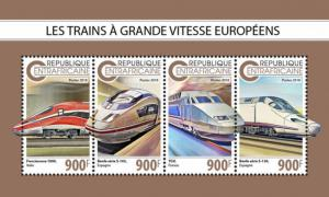 Stamps CENTRAL AFRICAN REPUBLIC. 2018 - European speed trains
