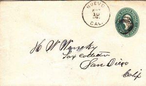 1891, Nuevo to San Diego, CA, Back Stamped San Diego (36675)
