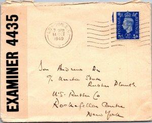London UK > US Rubber Plants Rockerfeller Center NY 1940 censored WWII cover