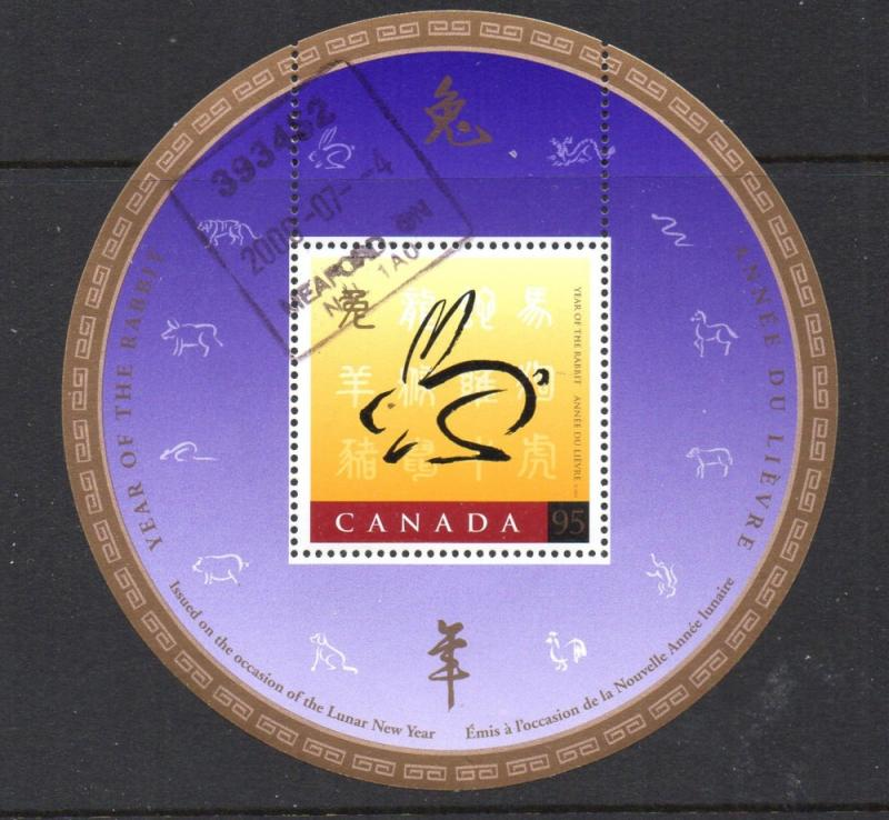 Canada Sc 1768 1999 Year of the Rabbit stamp sheet used