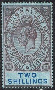 GIBRALTAR 1912 KGV 2/- WMK MULTI CROWN CA
