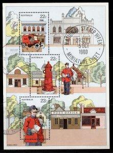AUSTRALIA QEII SG MS757, 1980 national stamp week mini sheet, FINE USED.