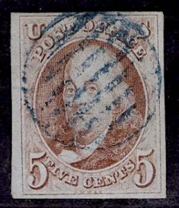 US Stamp #1 Red Brown USED SCV $350. 4 Frame Lines, nice cancel.
