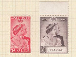 ST LUCIA # 129-130 VF-MH KGV1 1948 SILVER WEDDING ISSUE