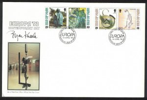 Isle of Man Painting Statue Sculpture Europa Contemporary Art FDC SG#563-566